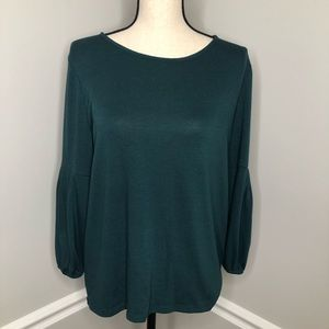TALBOTS Forrest Green Long Bell Sleeve Top-sz Med.